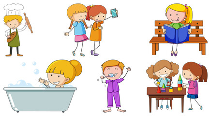 Set of many children doing different activities