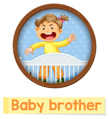 Educational English word card of Baby brother