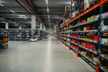 Fototapeta Rows of shelves with goods obraz