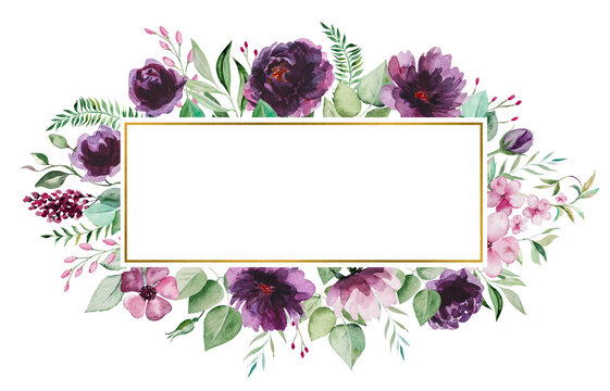 Watercolor purple flowers and green leaves frame illustration