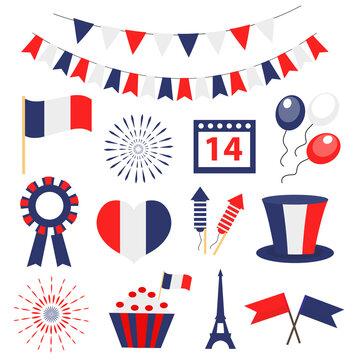 Bastille day, France national holiday icons set. Vector illustration