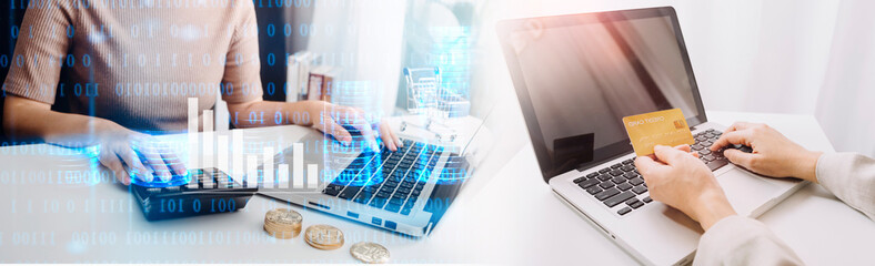 Obraz bookkeeper using calculator counting finances taxes fees accounting calculate bills money planning budget loan payment concept pay online on computer do paperwork work at home office desk - fototapety do salonu