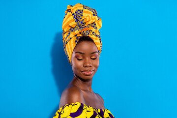 Obraz Profile photo of gorgeous satisfied dark skin person smile have good mood isolated on blue color background - fototapety do salonu