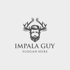 Horn Deer Guy Vector Logo Design