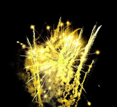 Yellow fireworks display black night sky background isolated close up, golden firecracker burst pattern, gold salute explosion texture, holiday decoration, festive design element, celebration backdrop