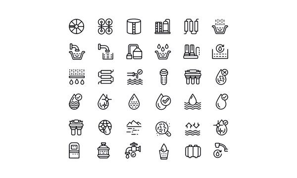Water treatment icons set  vector design