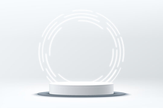 Abstract shine silver cylinder pedestal podium. Sci-fi white empty room concept with circle glowing neon lighting. Vector rendering 3d shape, Product display presentation. Futuristic wall scene.
