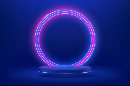 Abstract shiny blue cylinder pedestal podium. Sci-fi blue abstract room concept with circle glowing neon lighting. Vector rendering 3d shape, Product display presentation. Futuristic wall scene.