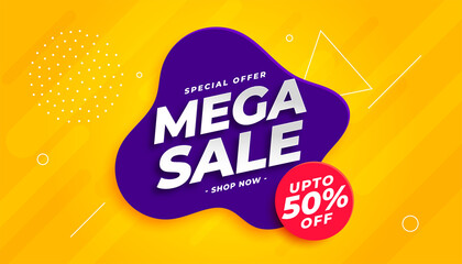 mega sale banner template in bright colors