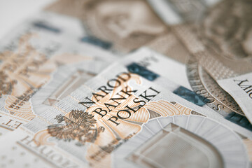 Close up on national polish bank of new Polish banknotes five hundred zloty. Macro photo of narodowy bank polski sign on PLN bill. Shallow focus. Close-up with fine and sharp texture