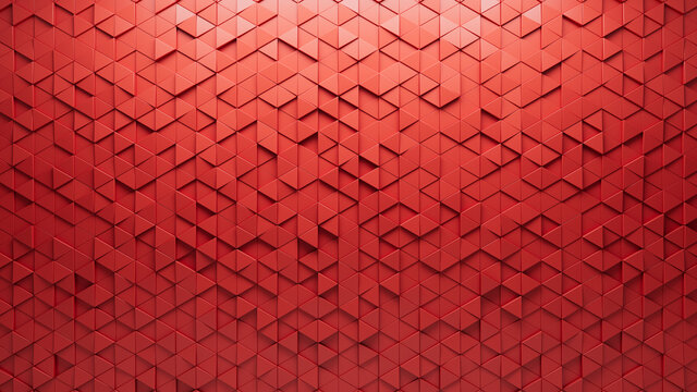 Triangular, 3D Wall background with tiles. Red, tile Wallpaper with Futuristic, Polished blocks. 3D Render