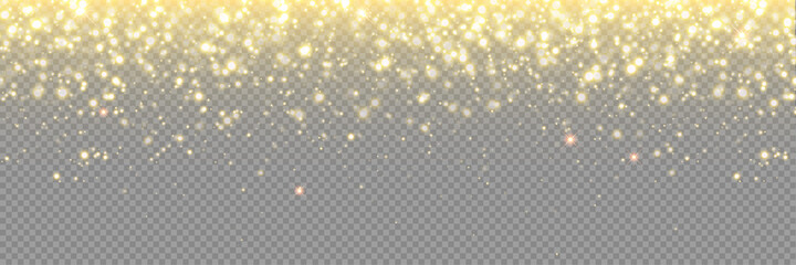 Fototapeta Gold glitter background, particle sparkles and vector golden confetti rain. Abstract glitter gold light with glistering glow, Christmas glowing dust shine and magic shimmer obraz