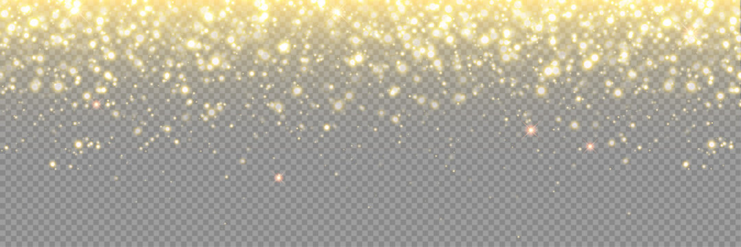 Gold glitter background, particle sparkles and vector golden confetti rain. Abstract glitter gold light with glistering glow, Christmas glowing dust shine and magic shimmer