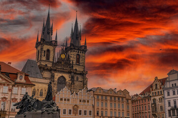 Prague old town city square view dramatic red sunset sky