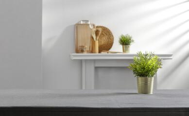 Obraz Desk of free space and kitchen interior  - fototapety do salonu