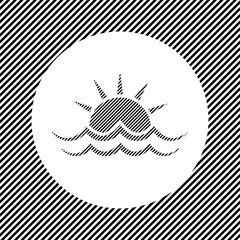 Obraz A large sunrise at sea symbol in the center as a hatch of black lines on a white circle. Interlaced effect. Seamless pattern with striped black and white diagonal slanted lines - fototapety do salonu