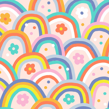 Boho baby summer whimsical rainbow vector seamless pattern. Modern groovy hippie abstract arch floral confetti vibrant background. Childish Scandinavian colourful decorative print design