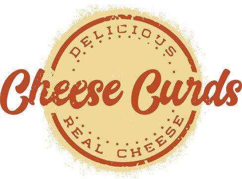Cheese Curds Vintage Menu Design Food Stamp
