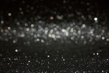 Obraz Night bokeh light, blur background of cityscape, blue color toned, abstract. - fototapety do salonu