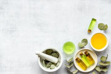 Fototapeta Herbal medicine natural cosmetics. Eucalyptus leaves in white mortar, top view obraz