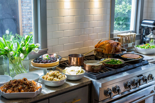 Thanksgiving dinner being prepared