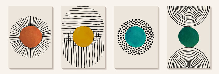 Obraz Creative minimalist hand painted Abstract art background with watercolor stain and Hand Drawn doodle Scribble Circle. Design for wall decoration, postcard, poster or brochure - fototapety do salonu
