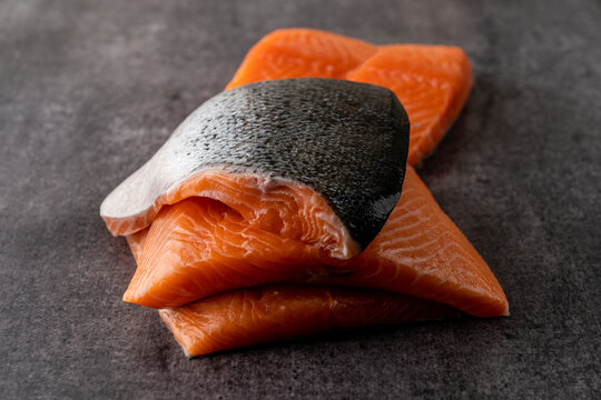 Stack of raw salmon