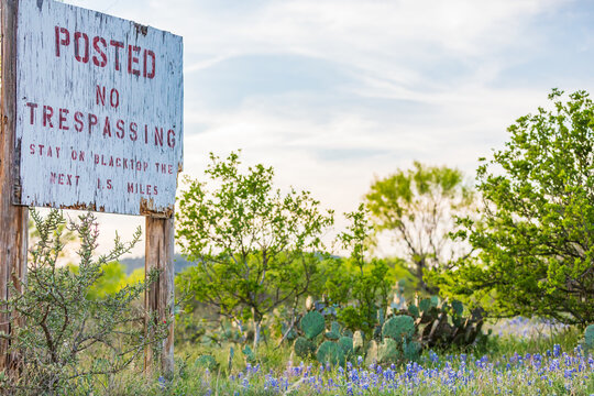 No Trespassing sign in the Texas hill country.