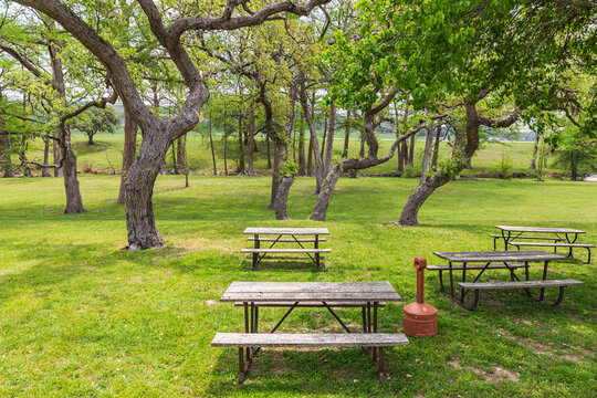 Picnic tables in a park in the Texas hill country.