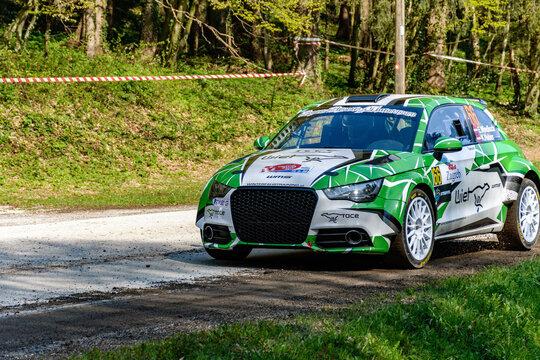 ZAGREB, CROATIA - Apr 23, 2021: Enrico Windisch driving Audi A1 R4 at WRC Croatia World Rally championship.