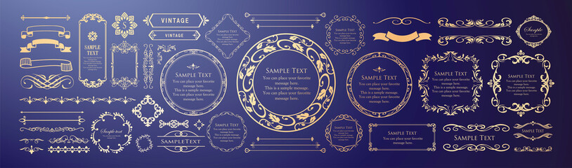 Obraz エレガントなフレームデザイン。装飾デザインのセット - fototapety do salonu