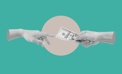 Digital collage modern art. Hand giving and receiving money