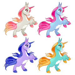 Baby unicorns on two legs. Cartoon vector isolated characters.