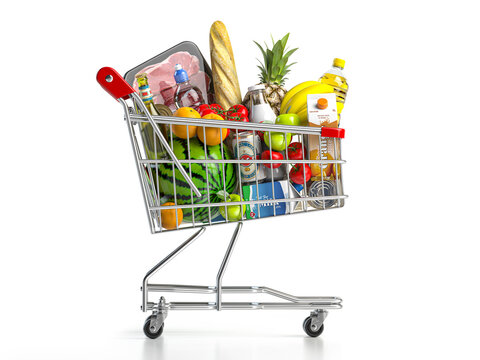 Shopping cart full of food isolated on white. Grocery and food store concept.