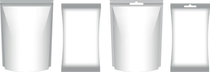 Obraz Set of neutral plastic film package bags with grey shadow. Realistic illustration of polyethilene bag - fototapety do salonu