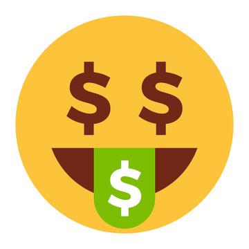 Flat color style emoji money tongue.