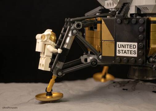 LUTON, UNITED KINGDOM - May 20, 2020: The moon landing in Lego