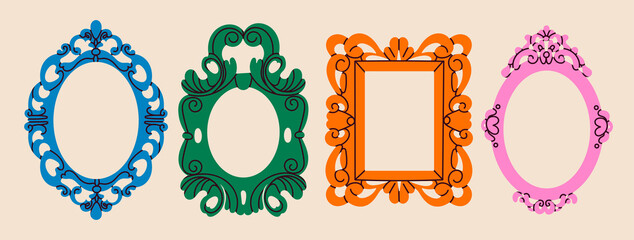 Obraz Set of various decorative Frames or borders. Different shapes. Photo or mirror frames. Vintage, retro design. Elegant, modern style. Hand drawn trendy Vector illustration. All elements are isolated - fototapety do salonu