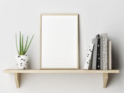 Mockup poster on wooden shelf with books, home decoration, 3d render, 3d illustration.