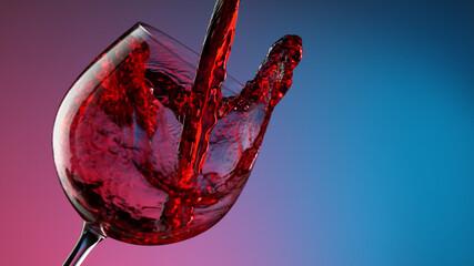 Obraz Glass of red wine on neon colors background, closeup - fototapety do salonu