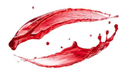 Berry juice splash, red compote splash isolated