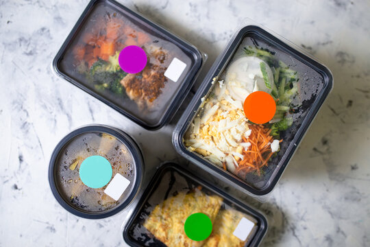 top view daily healthy food in containers. Food delivery.