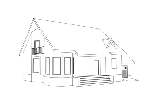 Suburban house sketch. Black line 3D model isolated on white background. Vector architectural design.
