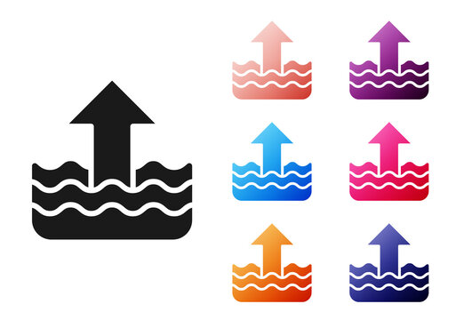 Black Rise in water level icon isolated on white background. Set icons colorful. Vector