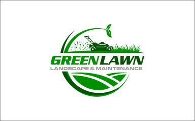 Obraz Illustration vector graphic of lawn care, landscape, grass concept logo design template  - fototapety do salonu