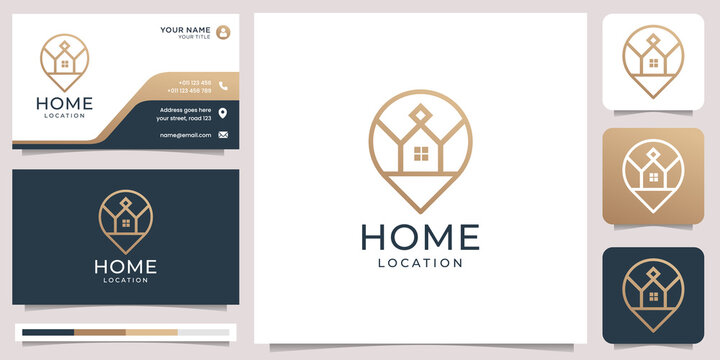 home location logo combined pin maps minimalist designs. line art style, design element with business card template. Premium Vector