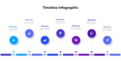 Obraz Infographic timeline design template. Modern vector illustration. Concept of 7 steps or options of business process - fototapety do salonu