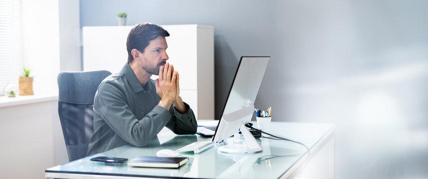 Pondering Man Banner. Contemplative Prayer Thinking
