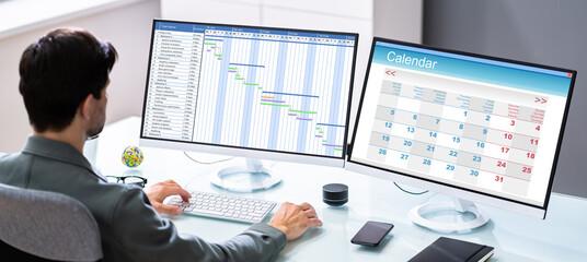 Obraz Businessman Checking Calendar Agenda - fototapety do salonu