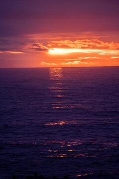 Sunset reflected in the pacific ocean at Yachats on the Oregon coast.
